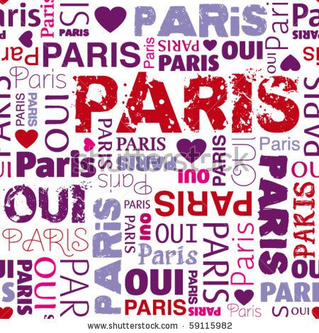 stock vector : I love Paris french background seamless pattern in vector