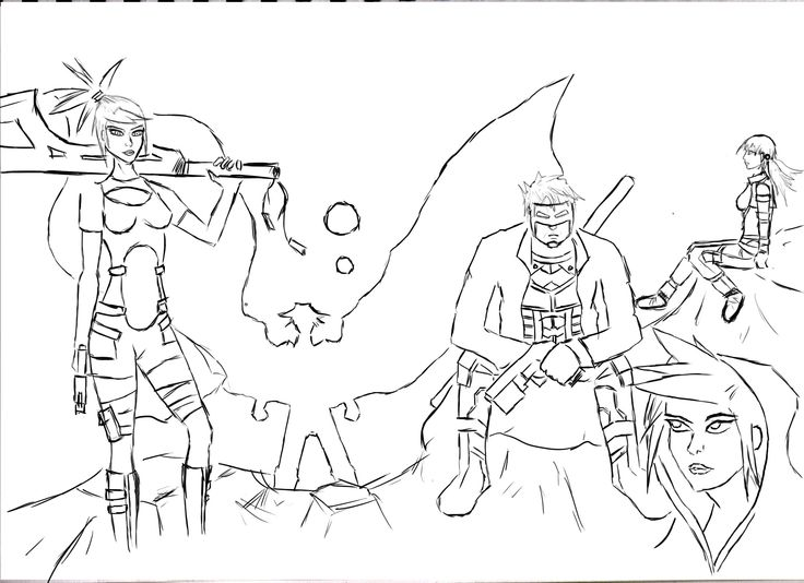Rough sketch of some creator-owned characters myself and a friend are working on.