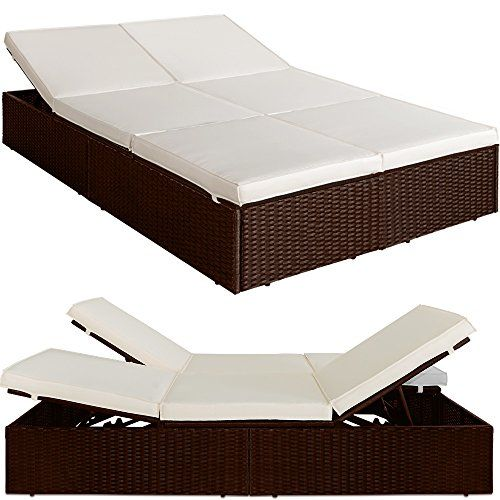 Poly Rattan Garden Lounger Day Double Bed - Reclining - BROWN  sc 1 st  Pinterest & 1389 best Rattan Sun loungers images on Pinterest | Garden ... islam-shia.org