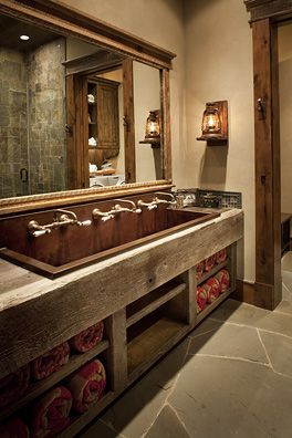 Like the long sink for a bathroom. This would be good at the farm!
