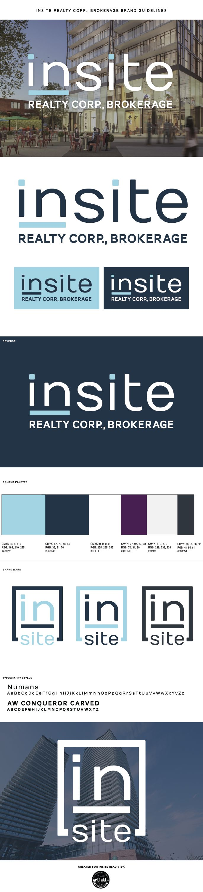 The completed branding guidelines we did for the Insite Realty Corp Digital Strategy Project.