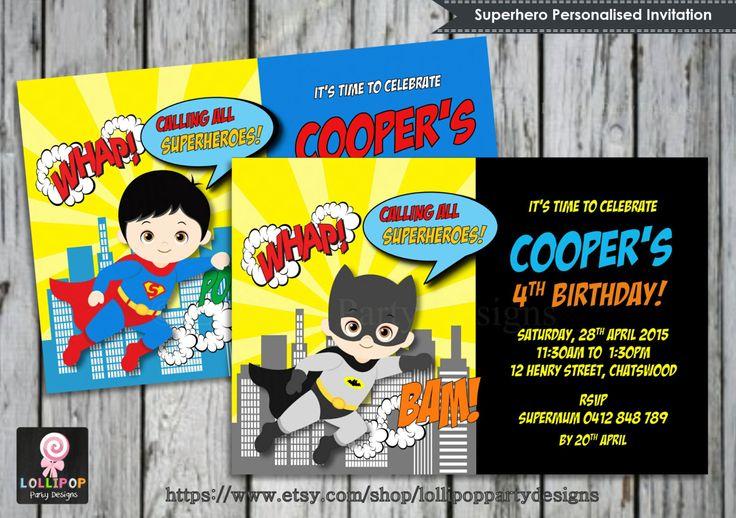 Superhero Invitation - Personalised - Printable - Invites - Digital Print - Batman- Superman - Spiderman - Boys Birthday Party - Superheroes by LollipopPartyDesigns on Etsy