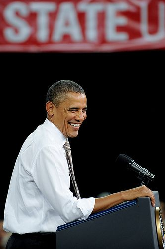 President Barack Obama addresses the crowd. | President Bara… | Flickr