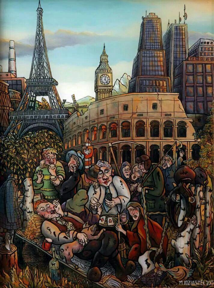 "Marek Idziaszek ""Referendum"" oil painting on glass"