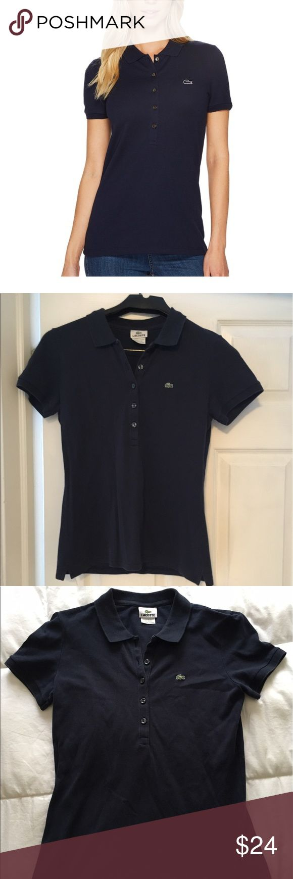 Lacoste Slim Fit Navy Ladies Polo Size 42. Great slim fitting stretch polo in navy. Perfect give for sports like golf and tennis. Long placket and down over hip (covers waistline). Fits like a small-medium. Minor visible wear and vintage shading - priced as such. Let me know if you have questions! Thanks for shopping 🌸. Lacoste Tops Tees - Short Sleeve