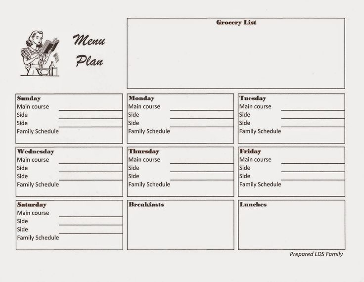 weekly dinner menu printable