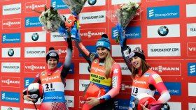 Alex Gough and Kimberly McRae finish second and third respectively in women's luge at the FIL World Cup in Lake...