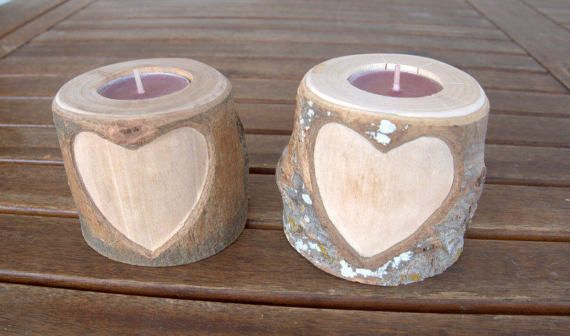 Set of 2 Tree Branch Candle Holders   Wood by PebblesAndWoods