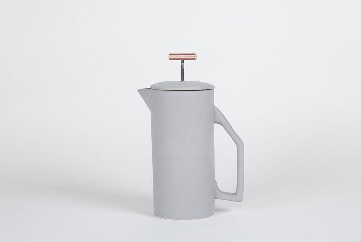 850 mL prensa francesa cerámica  gris
