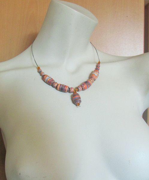 UPCYCLING Halskette orange/braun Papierperlen von BRIsART - Design  auf DaWanda.com