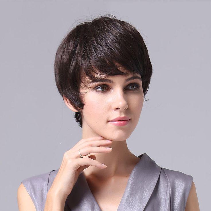 Кружева топ новые настоящие волосы парик женский сердце короткие прямые волосы парик моды женщин человеческих волос поддельные сосны навес V16