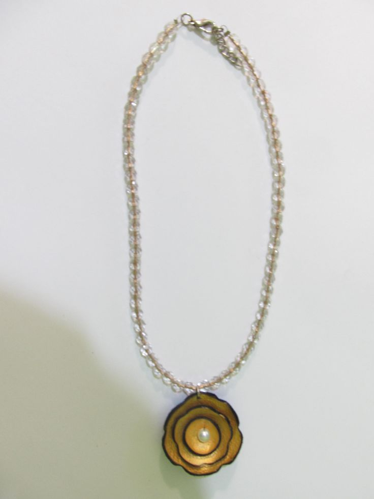 Leather Necklace Flower Bloom (1 pc)  Made with leather flower and glass beads.