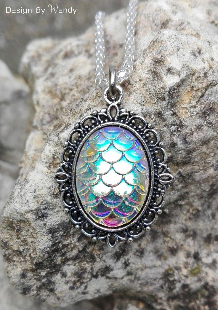 Dragon Cameo Pendant Necklace, White Iridescent Dragon Egg Charm Jewelry Dragon Scales, Iridescent Mermaid Necklace, Mermaid Pendant Jewelry