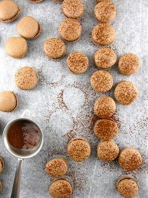 chocolate cinnamon nutella macarons