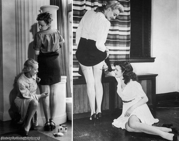 """History In Pictures on Twitter: """"Women in the 1940s painting their legs to look like they're wearing stockings, due to their scarcity during the war. https://t.co/qk8gkpGLE2"""""""