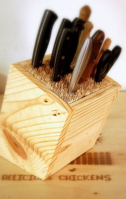 DIY universal knife block with pine and wood skewers or dry spaghetti.
