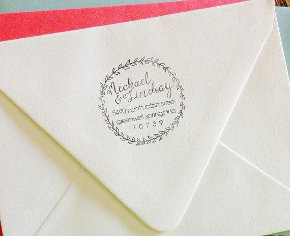Personalized Address Stamp, Self Inking, Return Address Stamp, Wedding stamp, Housewarming Gift - FREE SHIPPING - Wreath Calligraphy