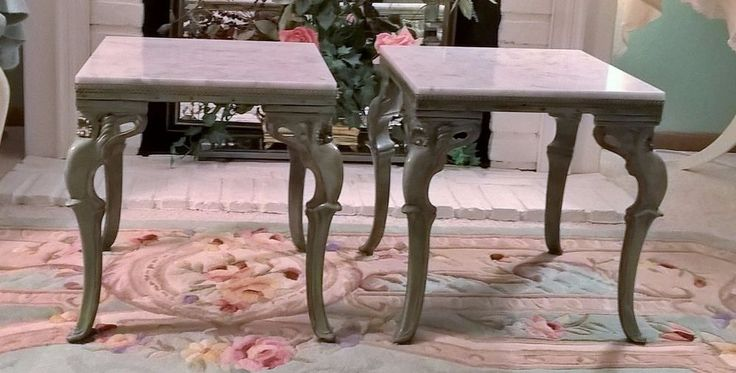 Pr French Provincial Tables White Marble Top Green French Rococo Side Tables  #Unbranded #FrenchProvincial