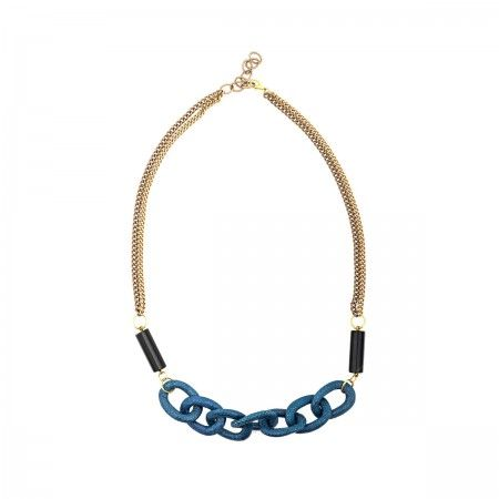Lacrom - Ida Callegaro -  Necklace Chain with links made in reptile and natural agate stones. Hypoallergenic metal.