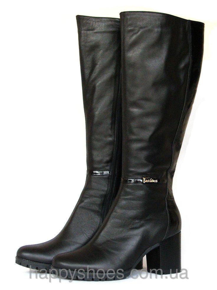 """Купить Зимние кожаные сапоги на каблуке в Запорожье от компании """"HappyShoes"""" - 441681717"""