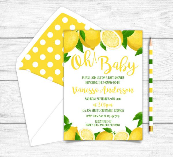 Personalized Envelopes Included with Printed Option 5 inches by 7 inches Printed or Digital DIY Party Supplies Invitation Cards Lemon Themed Bridal Shower Invitation