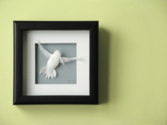 Original Paper Art Hummingbird 6 inch x 6 inch by papernoodle