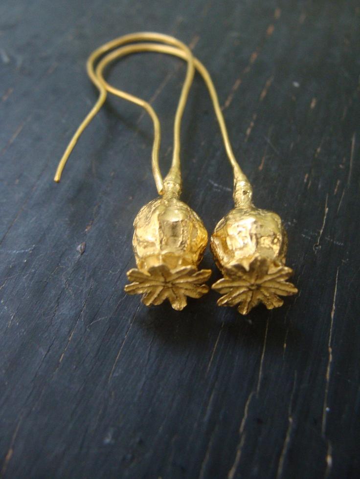 18K Vermeil Poppy Pod Long Hoops — Nature Cast — Poppy Earrings — Botanical Jewelry