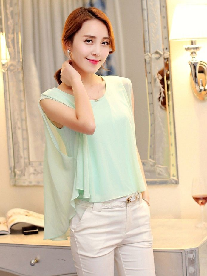 Asymmetric chiffon tank top light green #fashion #casualtops #lightgreen #greenstyle