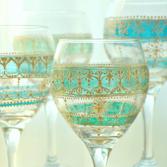 Four Handpainted, Moroccan Inspired Wine Glasses with Green Glass Details and Golden Accents