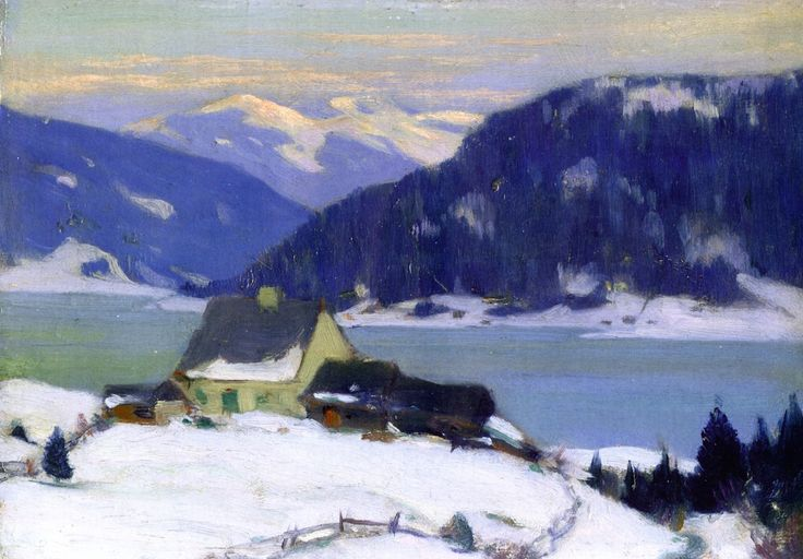 """While reading Louise Penney's book, """"The Long Way Home,"""" she includes the work of Clarence Gagnon. I wasn't familiar with him previously, but I really like his work. The Athenaeum - Lac de Charlevoix (Clarence Gagnon - )"""