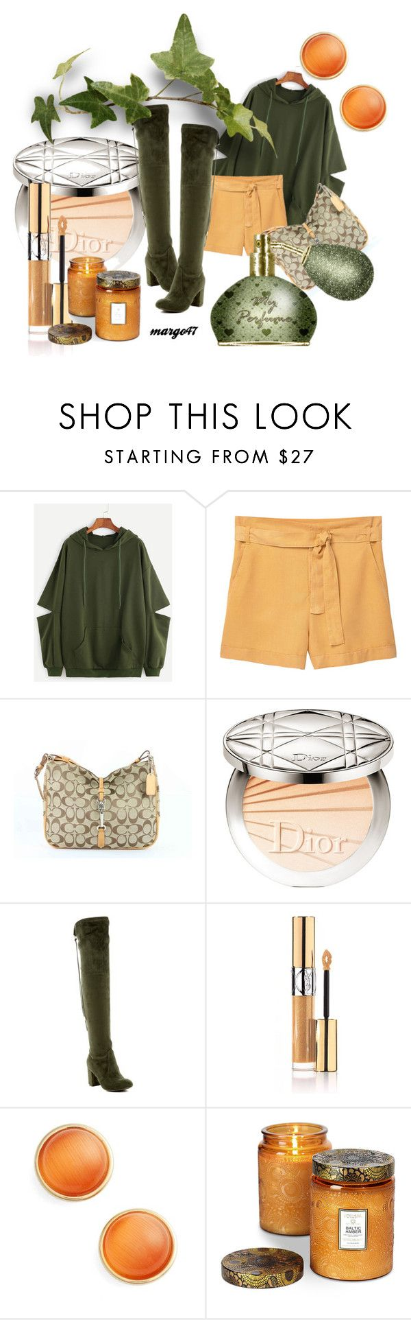 """""""szorty"""" by margo47 ❤ liked on Polyvore featuring MANGO, Coach, Christian Dior, Nature Breeze, Yves Saint Laurent, Kate Spade and Voluspa"""