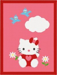 Hello Kitty and Blue-Birds Afghan Blanket Crochet Pattern