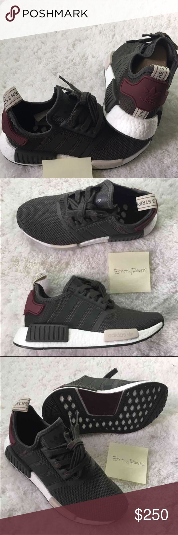 $200 New Adidas NMD R1 •• $200 on either Vinted or P ••• New Women Adidas NMD. Featherweight sneakers with the adidas boost cushioning. Upper is made of suede and neoprene which makes these. reflective. Also have EVA foam plugs which provides more comfort for the underfoot. Have the classic 3 stripes. Colorway: Utility Grey. More of an olive green. Stripes are green reflective!  Size 5.5, 6, and 8.5 in women's are available.   #adidas #NMD #boost #women #yeezy #superstar #stan smith Adidas…