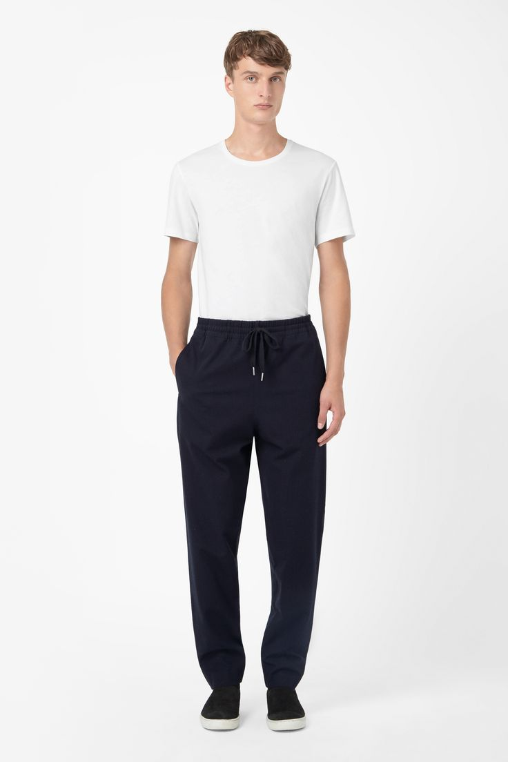 Twill drawstring trousers
