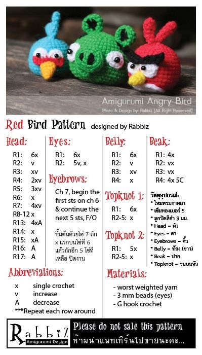 """Free Angry """"RED"""" Bird Pattern from Rabbiz Design...nifty way to write a patern quick and easy to read too"""