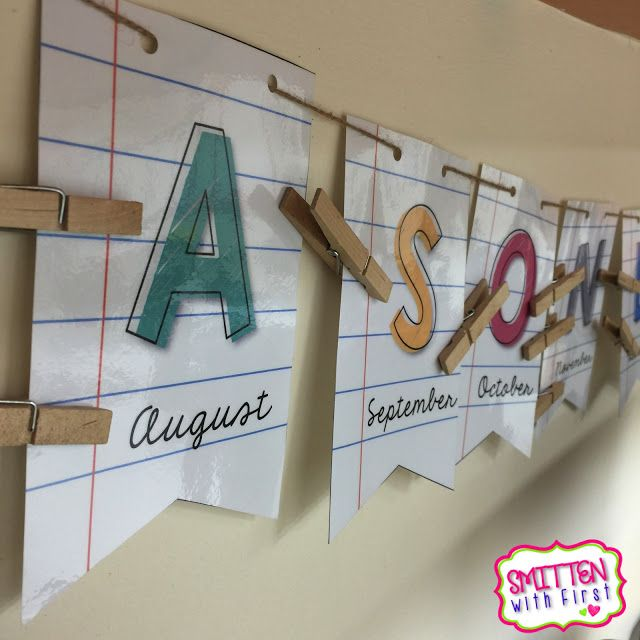 Classroom birthday banner!  Just write students' names and birthdays on clothespins!  So cute and creative!