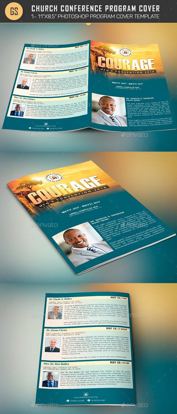 church conference program cover template informational brochures