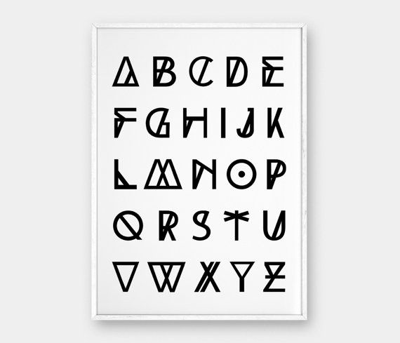 Alphabet wall art printable poster geometric poster scandinavian poster geometric alphabet