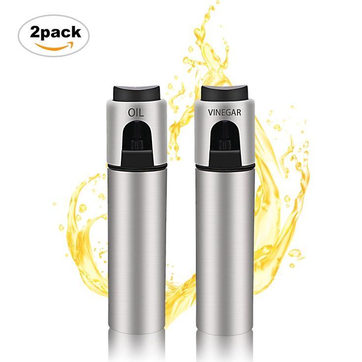 Olive Oil Dispenser Sprayer Stainless Steel BBQ Spray Bottle Kitchen Vinegar Spraying 2 Pack