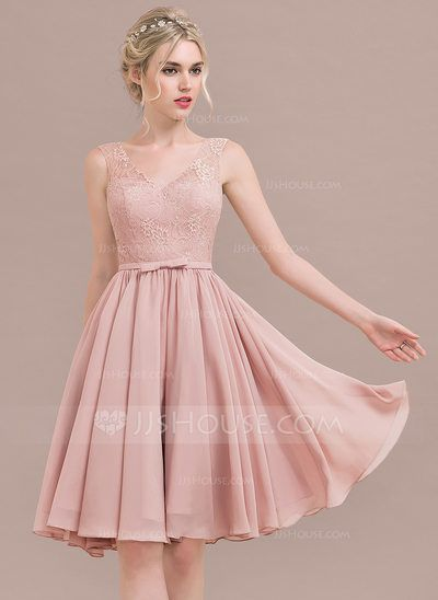 [US$ 92.49] A-Line/Princess V-neck Knee-Length Chiffon Lace Bridesmaid Dress With Bow(s)