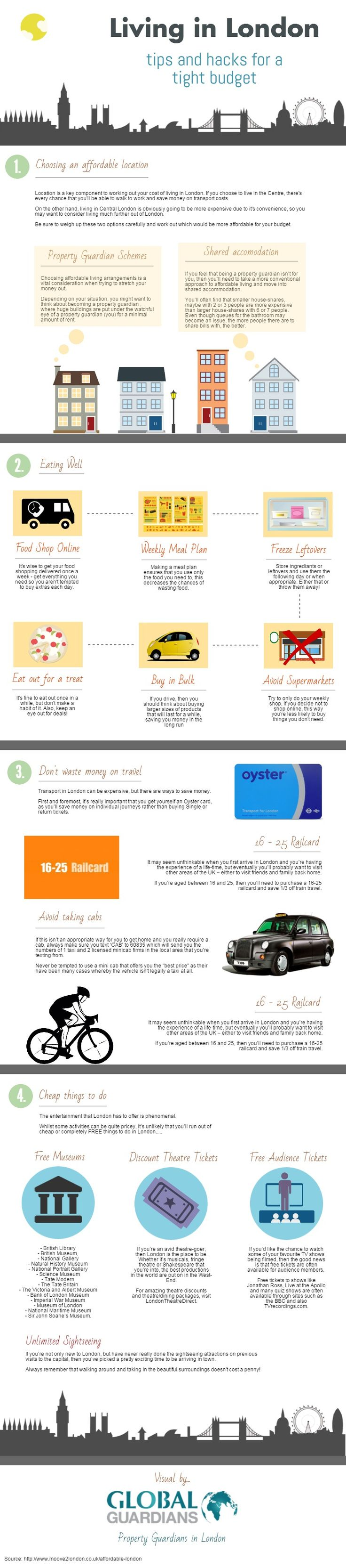 Living in London Tips and Hacks for a Tight Budget #infographic #Hacks #London #Finance