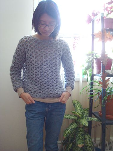 """""""Sideways"""" crochet sweater. Simple pattern and easy DIY. Crocheted all in one piece and folded in half along the shoulders, then sewn along the bottoms of arms and sides of torso."""