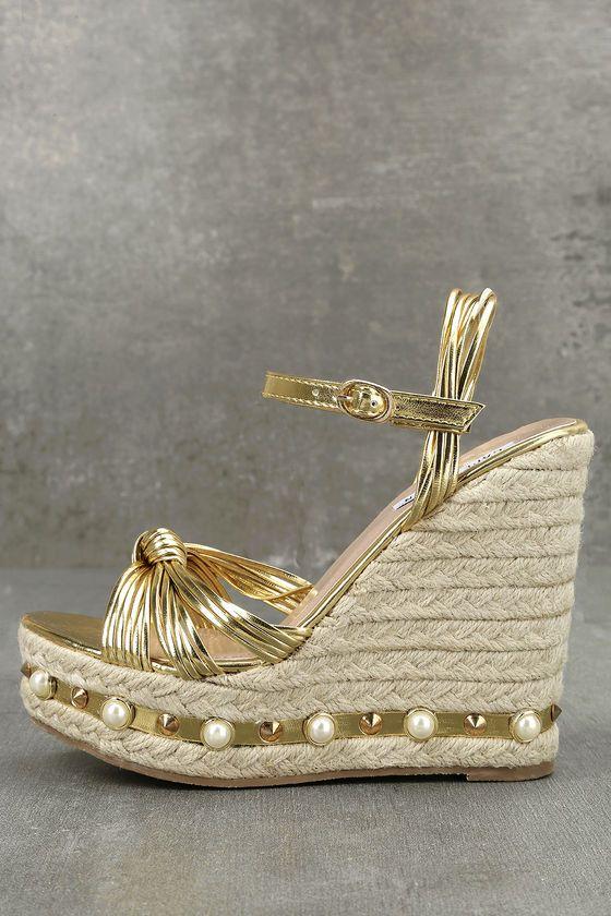 Aegaeon Gold Espadrille Wedges