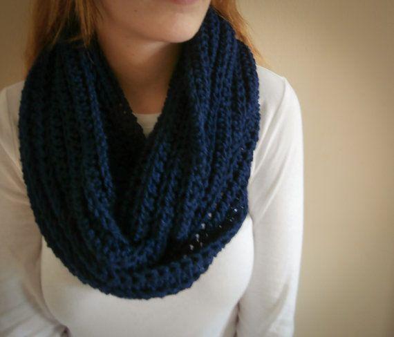 PreFall Sale Crochet Infinity Scarf Navy blue by PreciousLambKnits