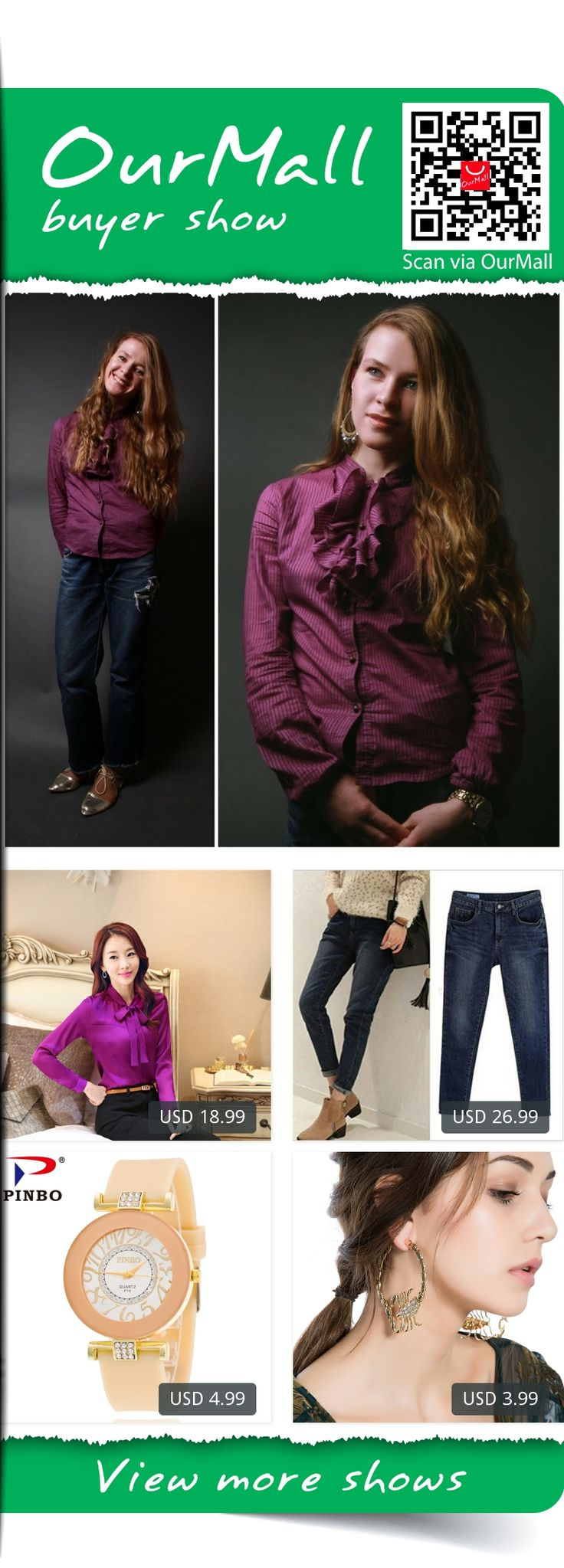 This is Alla Dolzhenko's buyer show in OurMall; totally wearing four items below: 1.Styles Spring Fall Female Long Sleeve Chiffon Blouses & Shirts Elegant Purple Business 2.jeans woman holes denim pants embroidered leisure jeans pants for women loose blue 3.Fashion PINBO Brand Big...If you'd like to buy above, please click the picture for detail. http://ourmall.com/?fMFNNf