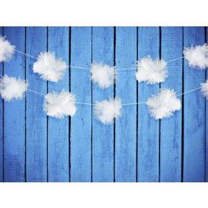 Tule pom pom slinger - 3 stuks voor de trouwauto of voor een feestzaal zijn te koop in onze webshop via http://www.instyledecoraties.nl/bruiloft/autoversiering.html