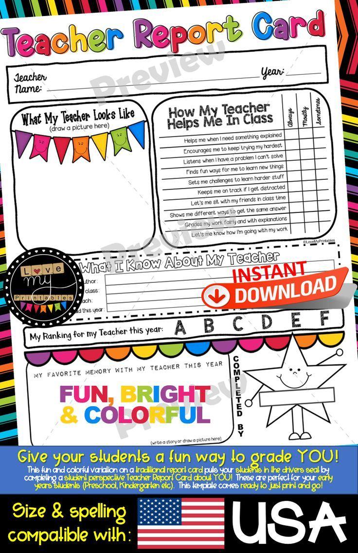 Report Card Template Teacher Edition Rate My Teacher By