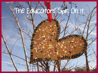 Create a Heart Bird Feeder for Valentine's Day and teach a Valentine's Poem about 100 and 1000! @theeducatorsspinonit.blogspot.com