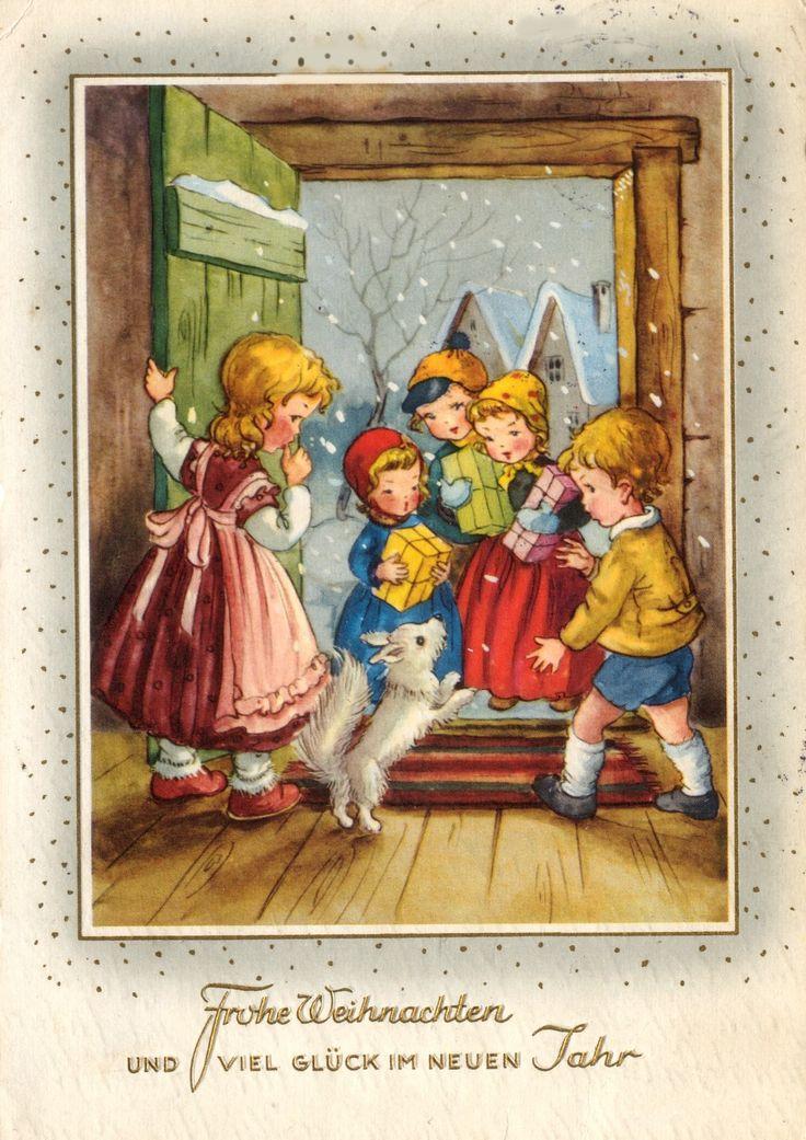 410 besten karten weihnachten retro bilder auf pinterest. Black Bedroom Furniture Sets. Home Design Ideas