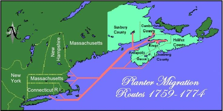 This is a map showing the migration routes followed by the New England Planters in the 1760s.